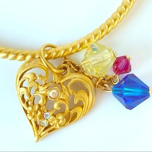Jewelry - Vintage Style Gold Tone Crystal Heart Bangle